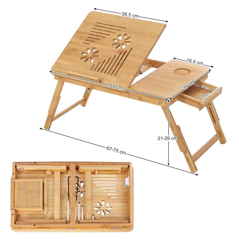 SONGMICS Table de lit pliable en bambou pour PC portable inclinable 55 x 35 x 29 cm LLD002