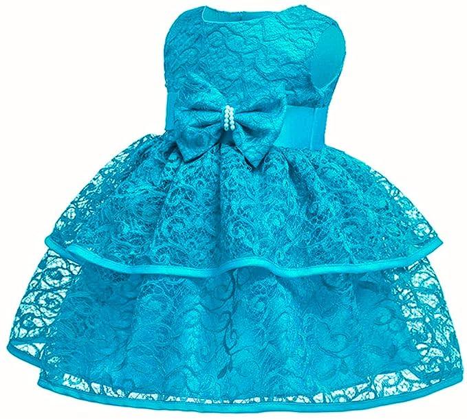 Amazon.com: Vestido de encaje para bebé o niña, 12 colores ...