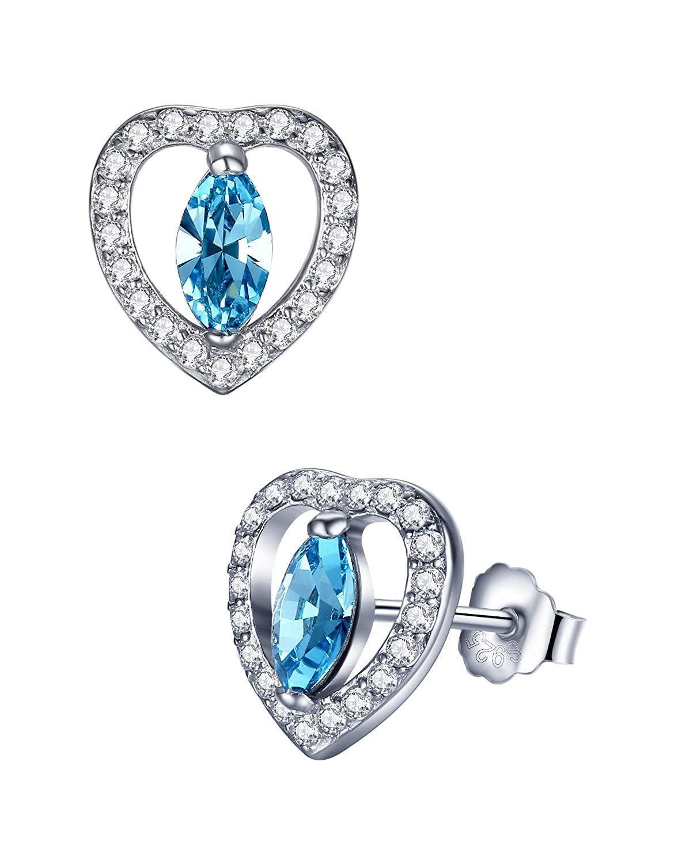 Aoiy - Boucles d'oreille Femme - Argent Sterling - Coeur avec zircone cubique et cristal bleu, zce004la