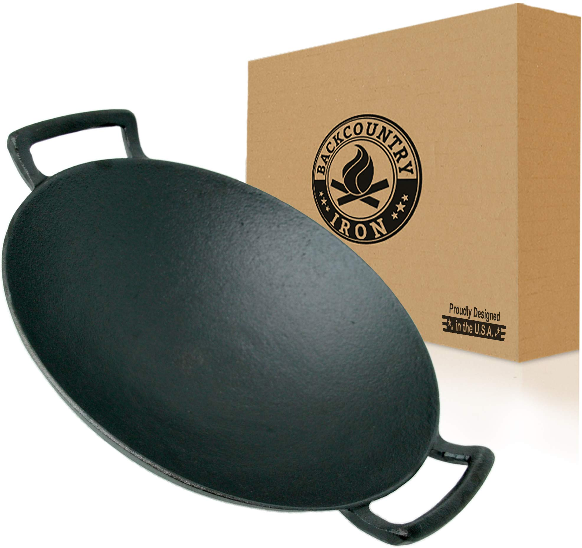 Backcountry Iron's Cast Iron Wok for Stir Frys and Sautees (14 Inch Large, Pre-Seasoned for Non-Stick Like Surface, Cookware Oven/Broiler/Grill Safe, Kitchen Deep Fryer, Restaurant Chef Quality)