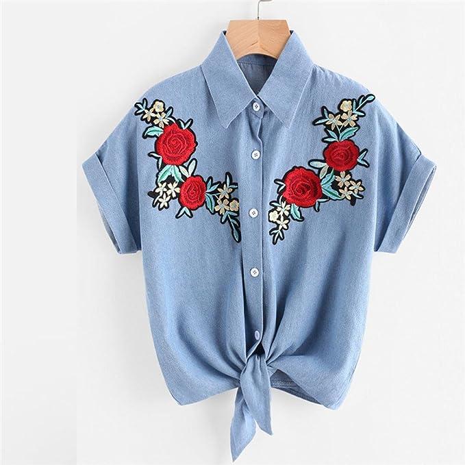 Goodsatar De las mujeres Blusa Señoras Rose Flor Vaquero Blusas Camisa manga corta Camisa de las