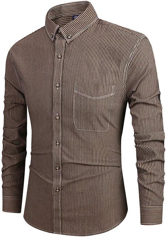 Chickwin Hombre Raya Casual Manga Larga Camisa de Algodón, Otoño Transpirables Fácil de Planchar de Slim Fit para Traje, Business, Bodas, Tiempo Libre Camisas: Amazon.es: Ropa y accesorios