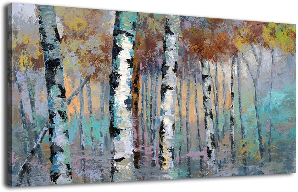 """Birch Forest Wall Art Abstract Painting Large Contemporary Canvas Wall Art Modern Abstract Artwork Autumn Landscape Canvas Pictures Prints for Bathroom Living Room Bedroom Wall Decoration 30"""" x 60"""""""