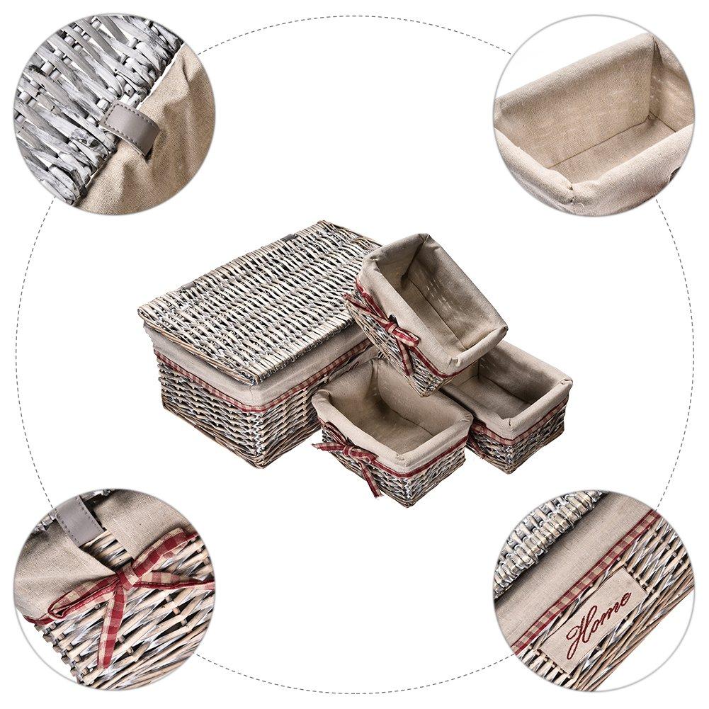TwinkBling cestini di Vimini Set di 4/Quadrato Contenitore portabiancheria Toys Organizer con Coperchio e Serratura