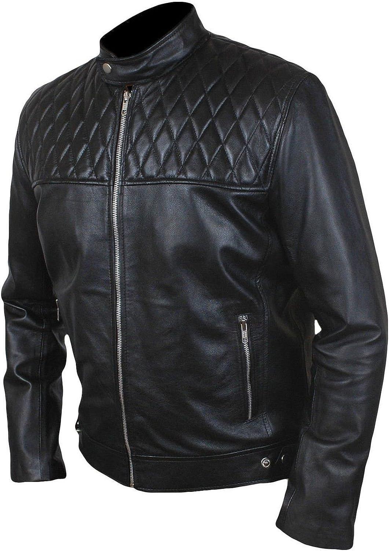 Men Slim Fit Biker Motorcycle Lambskin Leather Jacket Coat Outwear Jackets T1273