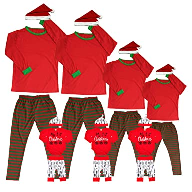 Pajama Matching Family Christmas Woman Men Kids Fitted Pjs Sets Adult Childrens Infant Santa Green Sleepwear