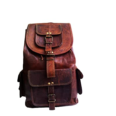 "jaald 16"" Genuine Leather Retro Rucksack Backpack College Bag,School Picnic Bag Travel: Sports & Outdoors"
