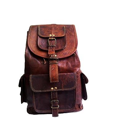"jaald 16\"" Genuine Leather Retro Rucksack Backpack College Bag,School Picnic Bag Travel: Sports & Outdoors [5Bkhe2001976]"
