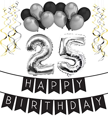 25th Birthday Party Pack Black Silver Happy Bunting Balloon And Swirls