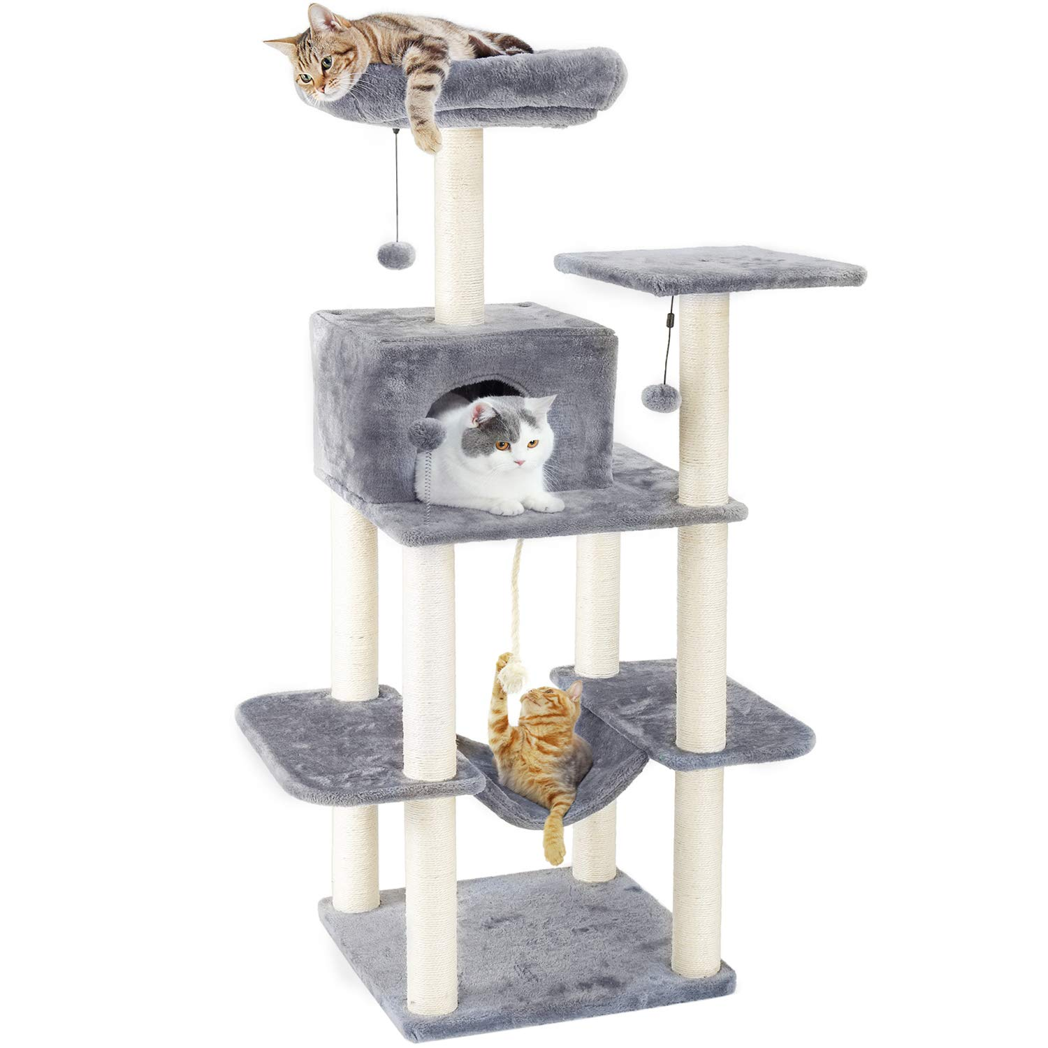 PAWZ Road 60 Inches Cat Tree Multilevel Cat Towers with Luxury Condos,Fully Wrapped Sisal Scratching Post,Plush Hammock and Dangling Balls by PAWZ Road