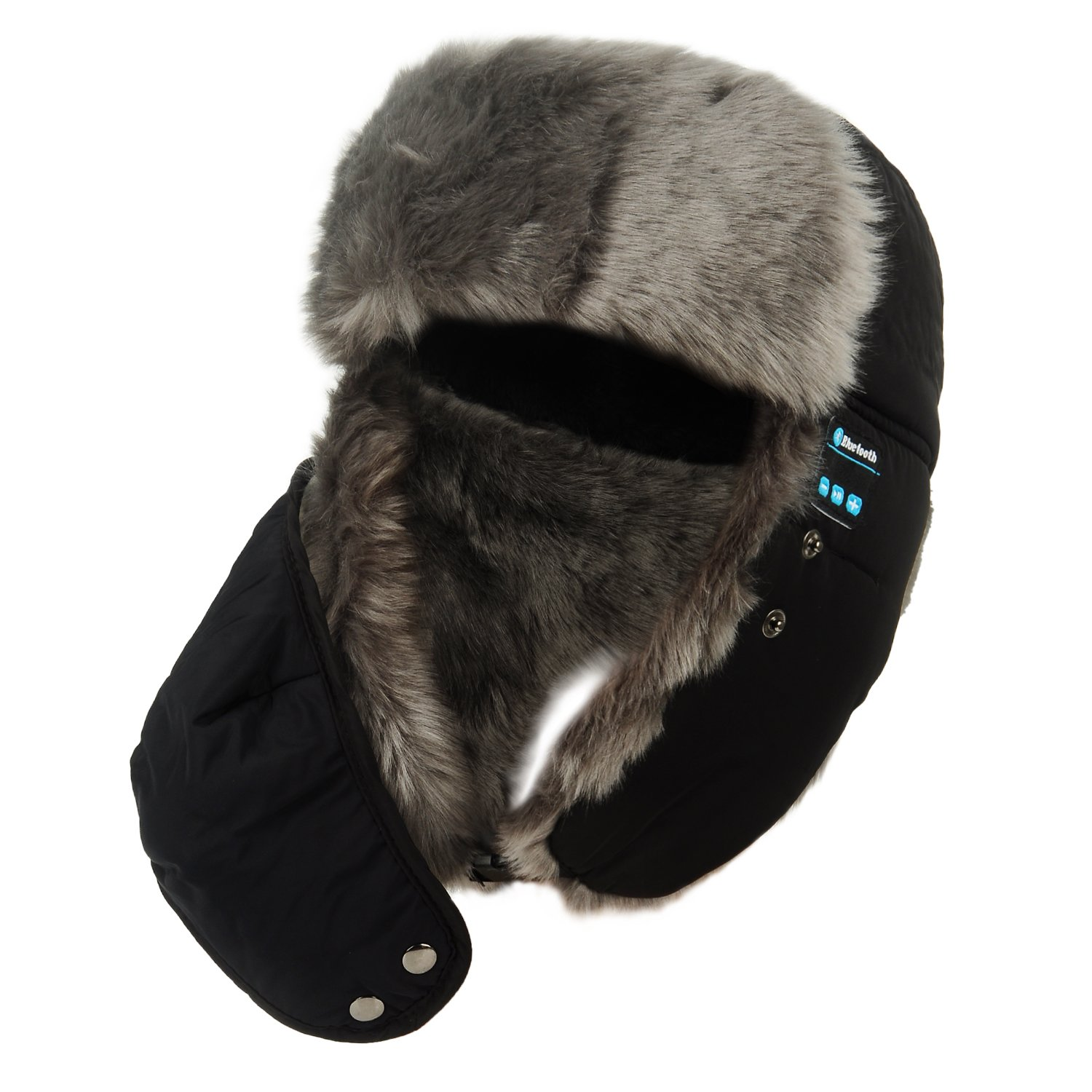 Supershop Winter Weatherproof Wireless Bluetooth Hat Music Hands-free Headset With Soft Faux Fur,Windproof Protective Mask,Suit For Snowboarding, Skiing, Skating And Other Activities