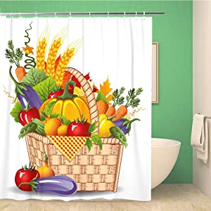 rouihot 60x72 Inches Shower Curtain Rich Harvest of Vegetables and Fruits Fruit Basket Autumn Food Frame Wheat Agriculture Waterproof Polyester Fabric Bath Bathroom Curtain Set with Hooks
