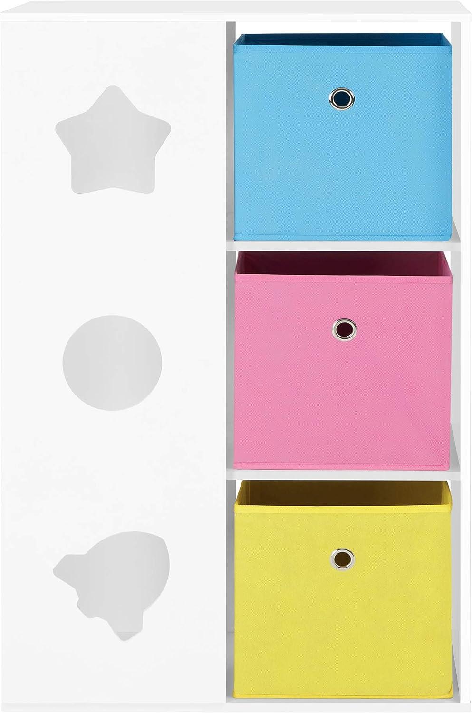 Mobiletto per Bambini Multiuso con Contenitori e Ripiani Azzurro Rosa e Giallo GKR330W01 Bianco per Cameretta e Stanza dei Giochi SONGMICS Scaffale per Giocattoli e Libri