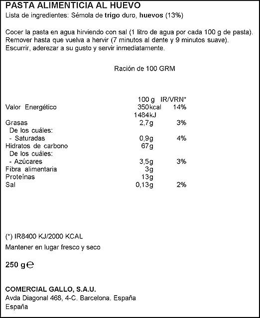 Pasta Gallo Spaghetti Huevo 250G: Amazon.es: Alimentación y ...
