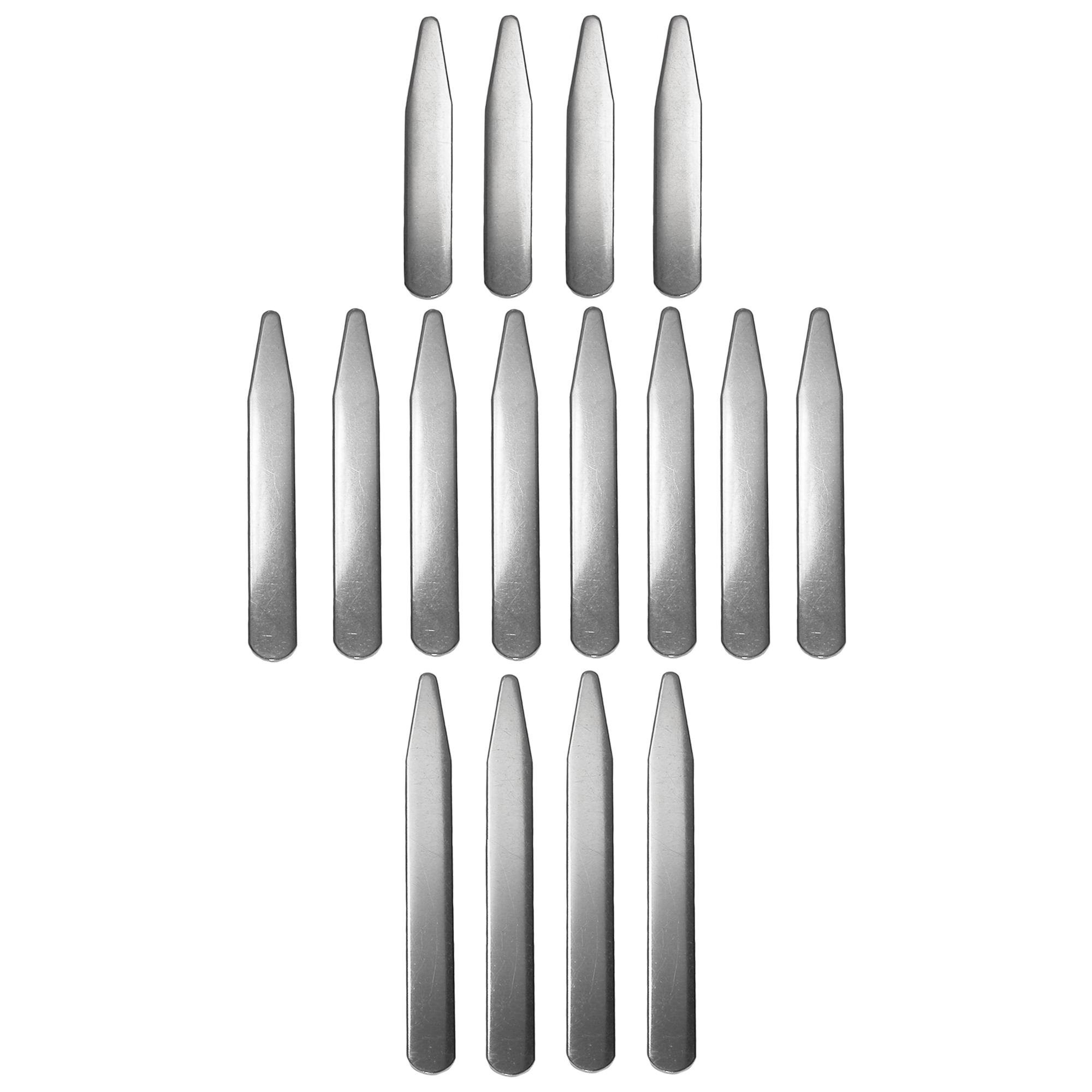 CrookhornDavis Men's Stainless Steel Collar Stays in 3 Lengths (Pack of 16 Sets)