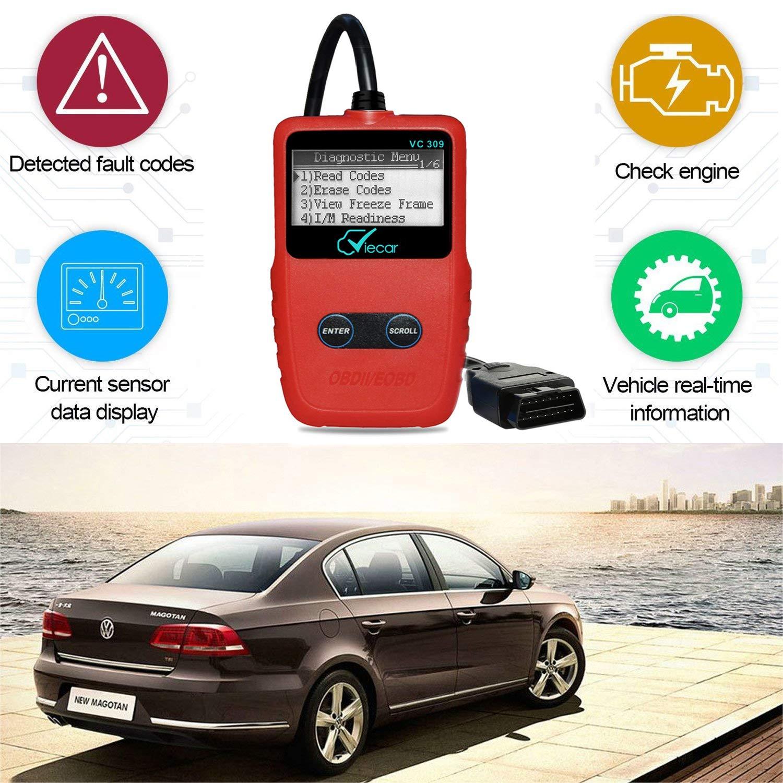 OBDII Code Scanner OBD-2 Scan Tool For Car Engine OBD-II/EOBD Diagnostic  Code Scanner LITOON-UK Code Reader