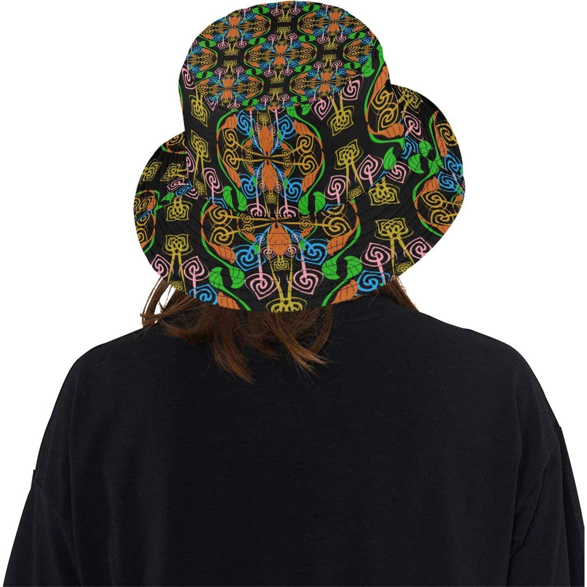 Spirals Ethnic Geometric Summer Unisex Fishing Sun Top Bucket Hats for Kid Teens Women and Men with Packable Fisherman Cap for Outdoor Baseball Sport Picnic