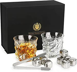 Whiskey Glasses Set of 2, Kollea Whiskey Stones Set with 2 Whiskey Glasses 11oz & 8 Reusable Stainless Steel Ice Cubes, Gift for Him Men Dad Husband Boyfriend Birthday, Anniversary or Retirement