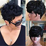 100% Human Hair Wig Short Pixie Cut Brazilian Hair None Lace Wig Natural Color Machine Made Wigs For Black Women (8 inches)