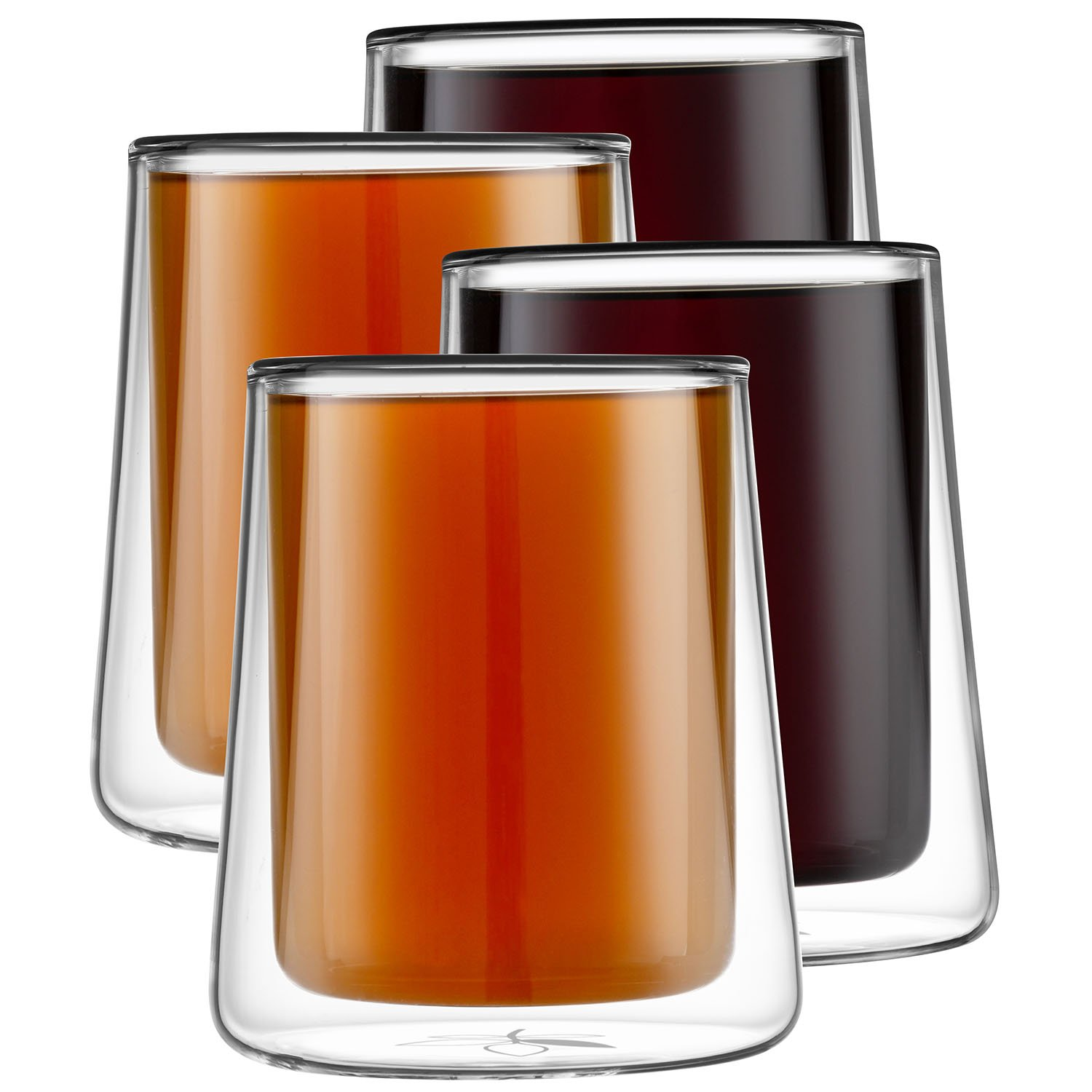 Double Walled Glass Cups - 12 Ounces, Set of 4 Clear Coffee Mugs - Double Wall Coffee Mugs for Coffee, Tea, Latte, and Cappuccino