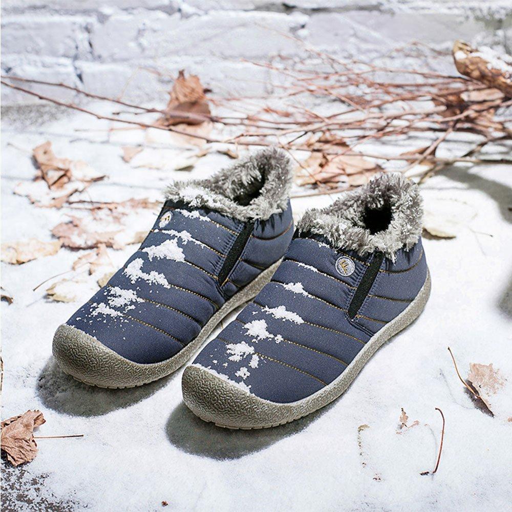 JACKSHIBO Women Men Fully Fur Lined Waterproof Anti-Slip Outdoor Slippers Ankle Boots House Slipper B073RP2K5C Women 8(M)B US/Men 7.5(M)B US Blue-low Slipper