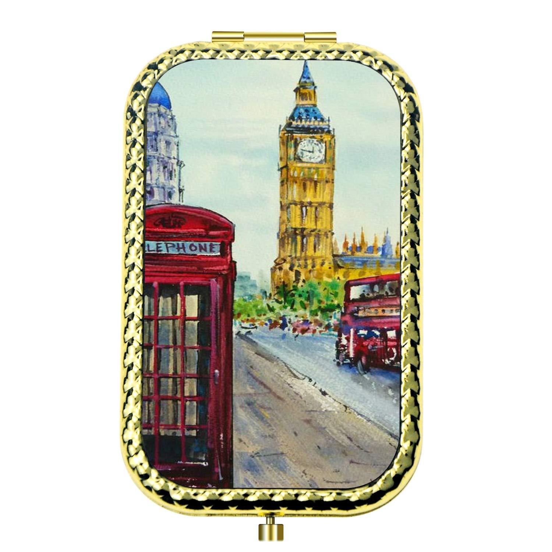 Amazon.com : Specialized Design Rectangle Golden London Street Portable makeup mirror, Travel Compact Portable Pocket Folding Makeup Vanity Cosmetic Mirror ...