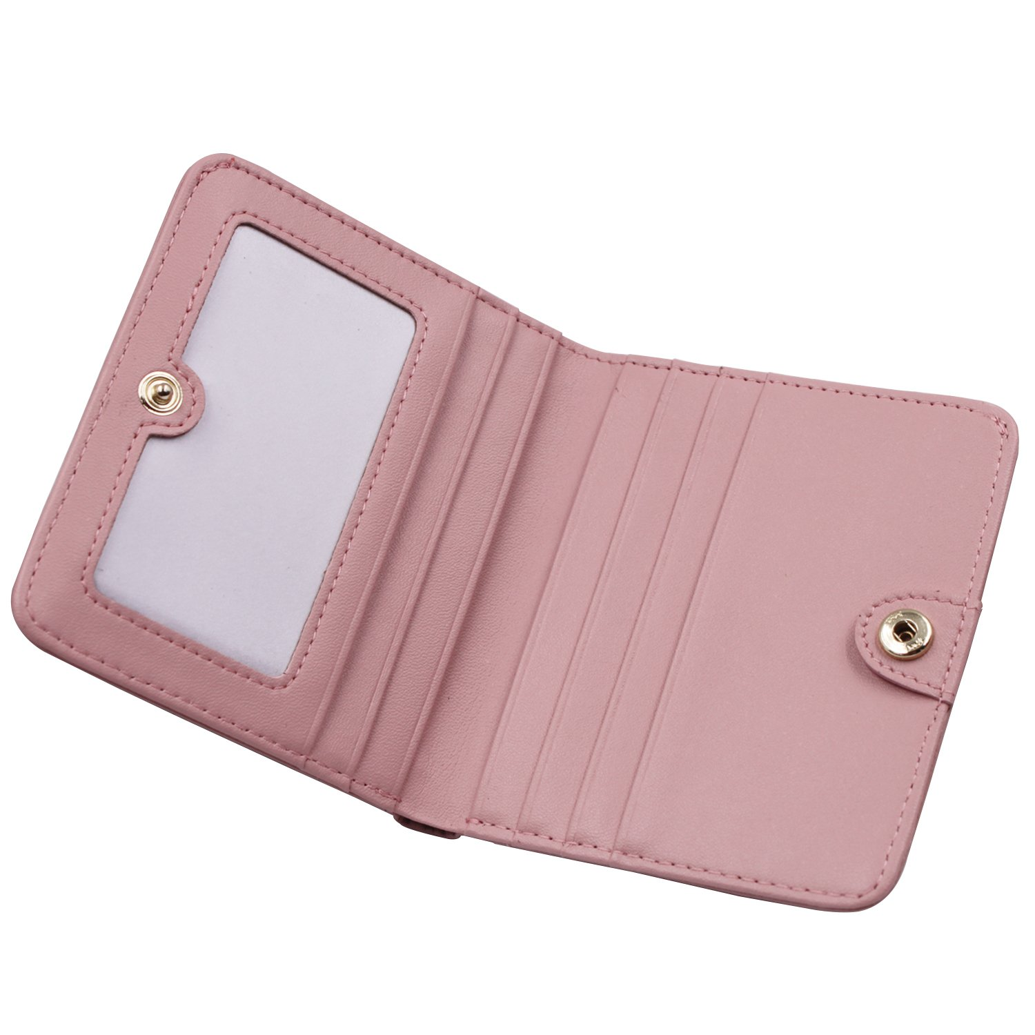 Women's Small Compact Bi-fold Leather Pocket Wallet Credit Card Holder Case with ID Card Window (New Pink) by ARRIZO (Image #4)