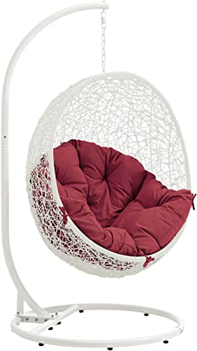 Modway EEI-2273-WHI-RED Hide Wicker Rattan Outdoor Patio Porch Lounge Egg Set, Swing Chair with Stand, Red