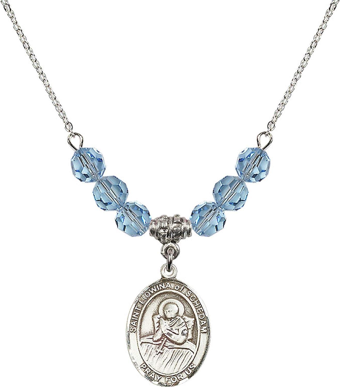 Bonyak Jewelry 18 Inch Rhodium Plated Necklace w// 6mm Blue March Birth Month Stone Beads and Saint Lidwina of Schiedam Charm