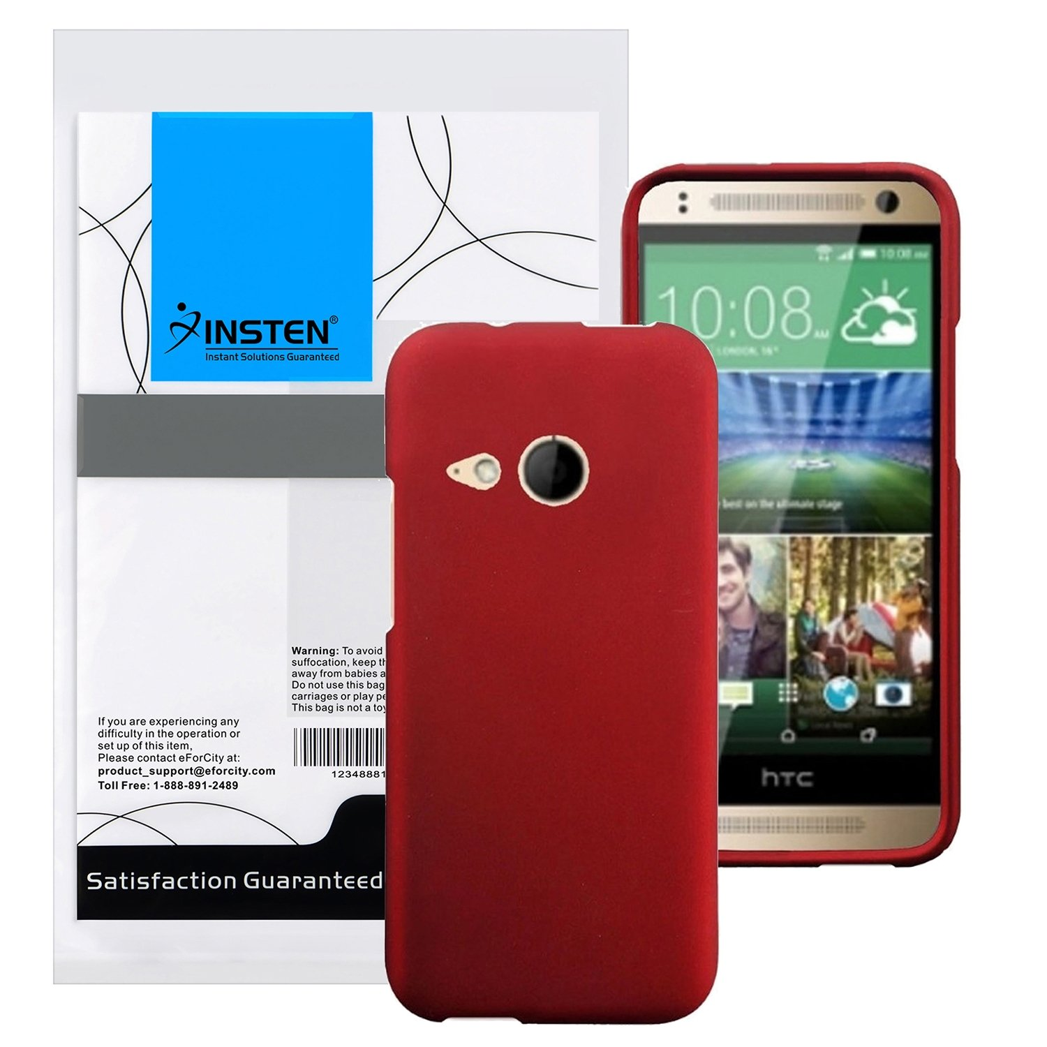 HR Wireless Rubberized Cover for HTC One Remix M8 Mini - Retail Packaging - Red by HRWireless (Image #1)