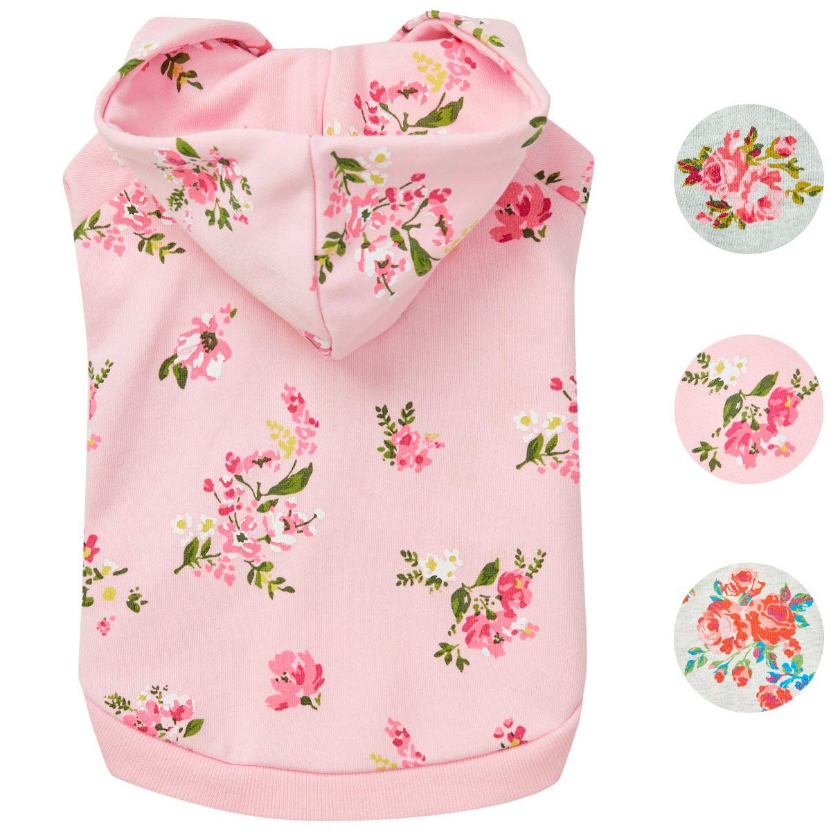 Blueberry Pet Spring Scent Inspired Daisy Flower Pullover Dog Hooded Sweatshirt in Baby Pink, Back Length 10'', Pack of 1 Clothes for Dogs by Blueberry Pet