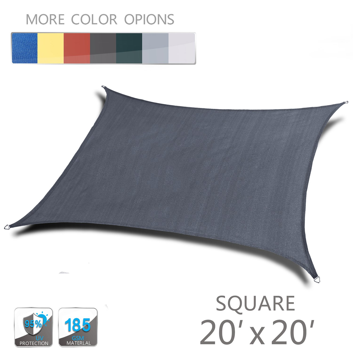 Love Story 20' x 20' Square Charcoal UV Block Sun Shade Sail Perfect for Outdoor Patio Garden by Love Story (Image #1)
