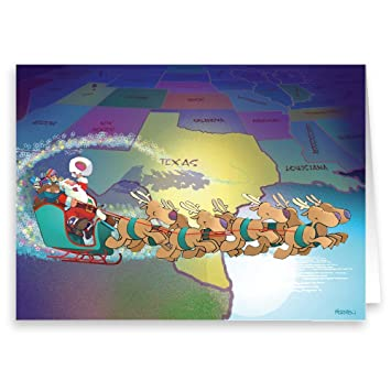Texas Christmas Cards.Amazon Com Texas Christmas Card 18 Texas Theme Cards