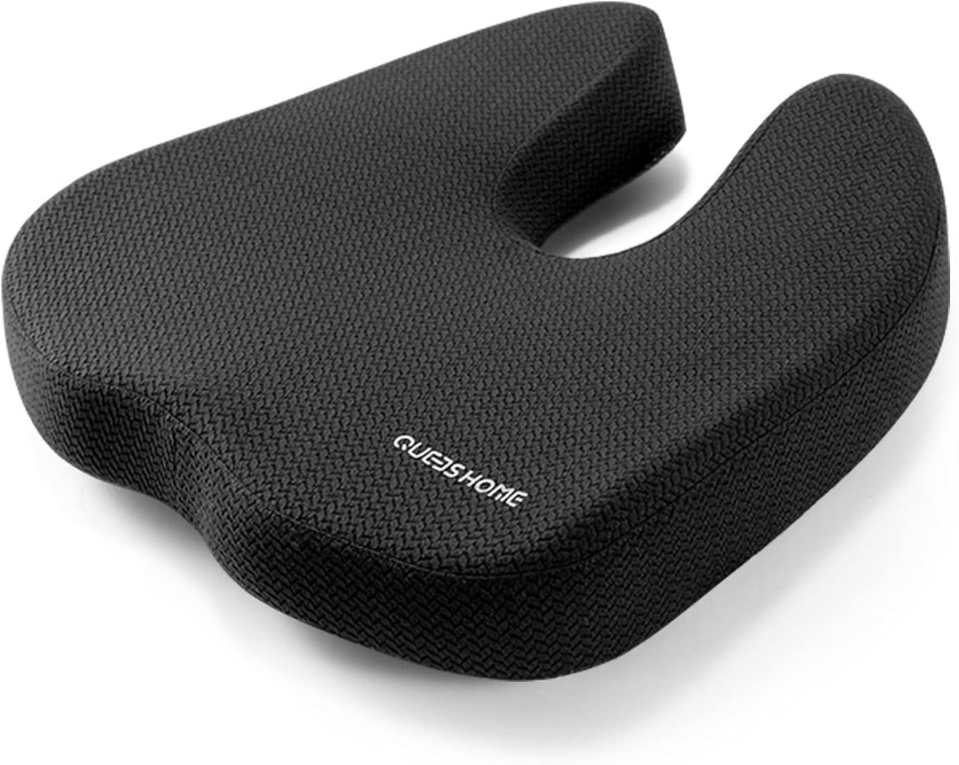 QUEES Seat Cushion for Office Chair, Memory Foam Chair Cushion Coccyx Cushion for Tailbone & Back Pain Relief