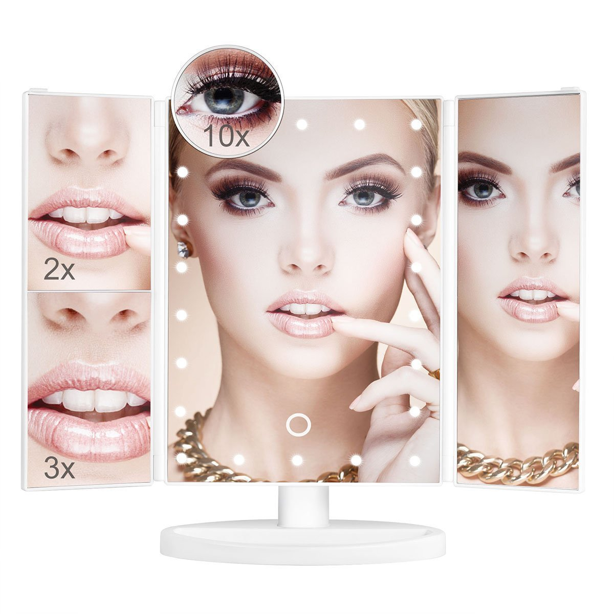 Aidonger Make-up mirror with light, make-up mirror illuminated, Make-up mirror with 22 LED lighting, 1 X 2X 3 X 10 magnifying mirror (White)