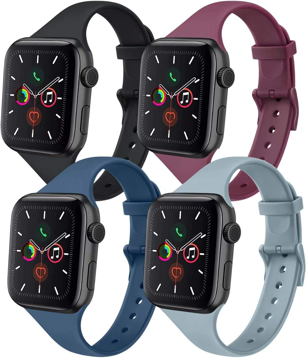 IEOVIEE [Pack 4] Silicone Slim Bands Compatible with Apple Watch bands 42mm 38mm 44mm 40mm Series 6 5 4 3 & SE, Narrow Replacement Wristbands (Black/Gray/Navy Blue/Wine Red, 38mm/40mm M/L)