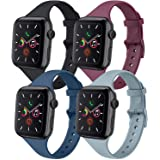 IEOVIEE [Pack 4] Silicone Slim Bands Compatible with Apple Watch bands 42mm 38mm 44mm 40mm Series 6 5 4 3 & SE, Narrow Replac