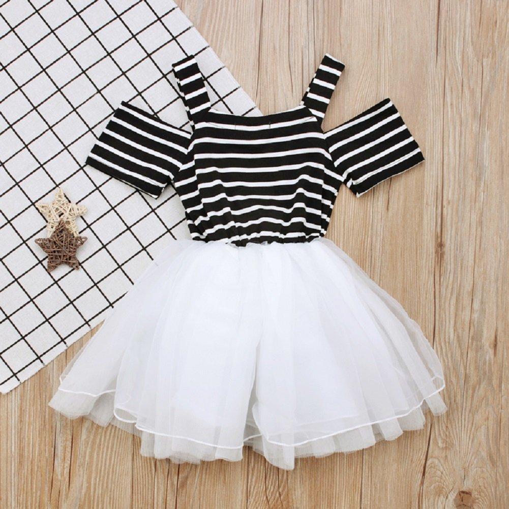 HBER 1-5T Toddler Baby Little Girls Summer Dress Short Sleeve Off Shoulder Stripe Tulle Cute Princess Dresses with Bowknot