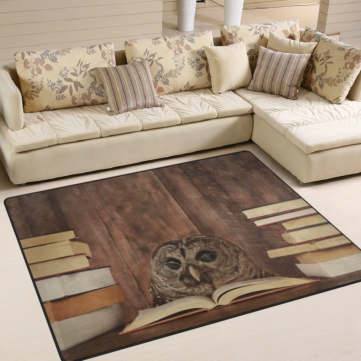 ALAZA Cute Owl Reading Book Area Rug Rugs for Living Room Bedroom 7 x 5