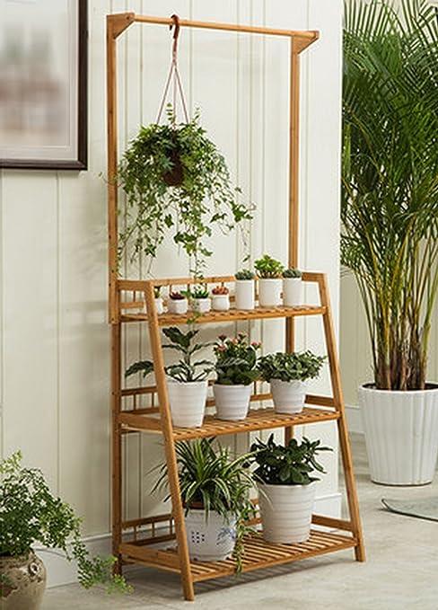 DFHHG® Estantería de flores Suculentas Estantería de flores Nan Balcón de bambú Baldosas de flores Estantería Escaleras de escalera de varios pisos Soporte de flores americano (Tamaño : Metro) : Amazon.es: Hogar
