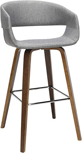 OFM 161 Collection Mid Century Modern 2 Pack 26 Low Back Bentwood Frame Stool, Fabric Upholstery, in Light Gray