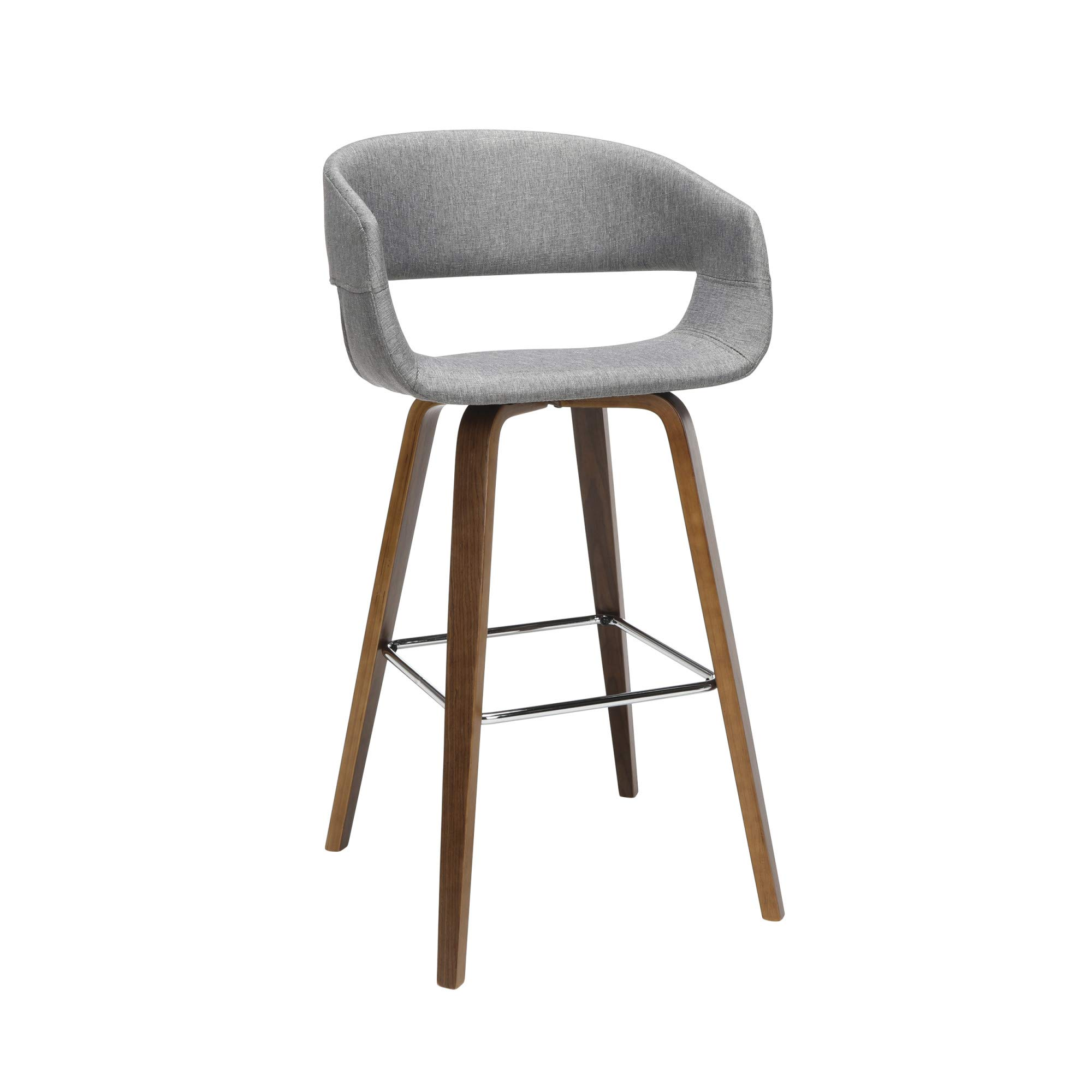 OFM 161 Collection Mid Century Modern 26'' Low Back Bentwood Frame Stool, Fabric Upholstery, 2 Pack, in Light Gray by OFM
