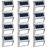 GIGALUMI 12 Pack Solar Deck Lights,3 LED Solar Stair Lights,Outdoor LED Step Lighting Stainless Steel Waterproof Led…