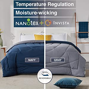 SLEEP ZONE All Season Comforter Down Alternative Cooling Reversible Duvet, NavyBlue+Gray, Full/Queen