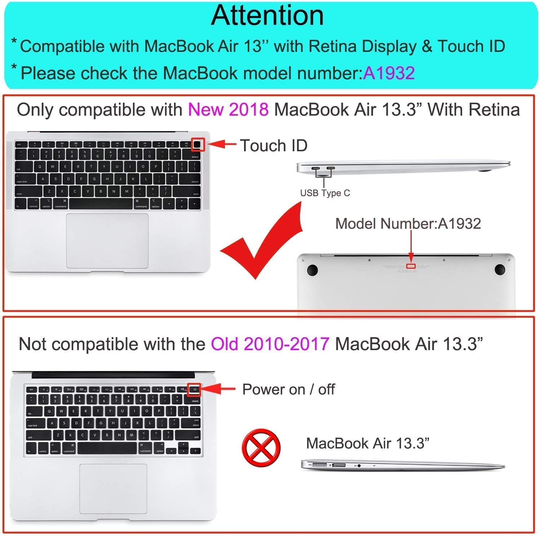 MOSISO Kit Protezione Compatibile con 2018 MacBook Air 13 Pollici A1932 con Display Retina,Schermo//Trackpad Protezione/&TPU Tastiera Cover/&Copertura Antipolvere/&Webcam Anti-Spy Copertura/&Pulizia Panno