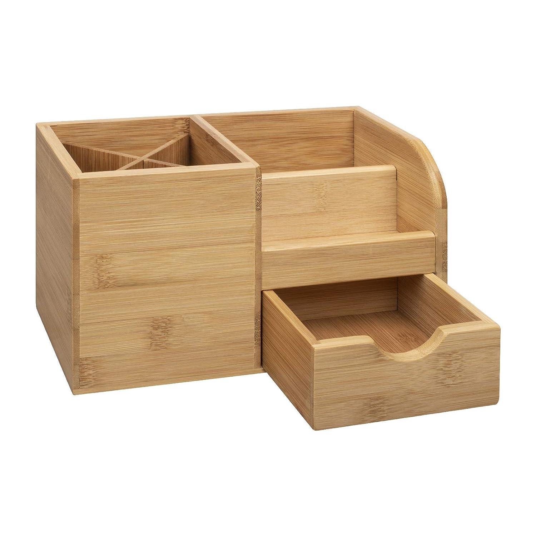 22 x 10,5 x 12,2 cm Mobile Visitenkarten woodluv Bambus Schreibtisch-Organizer f/ür Make-up-Werkzeuge f/ür Stifte Aufbewahrungsbox