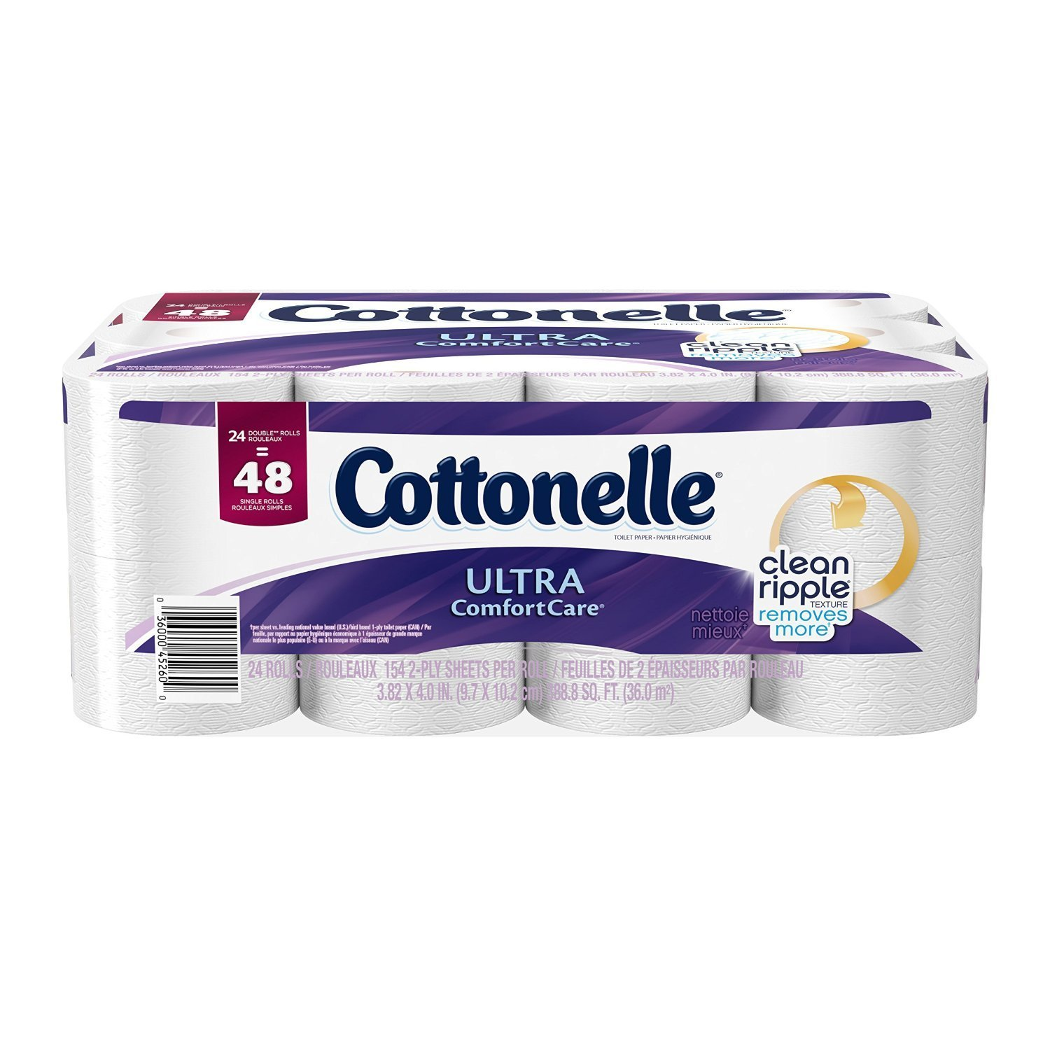 Cottonelle Ultra Comfort Care Double Roll Toilet Paper, 154 Sheets, 24 Count 38579
