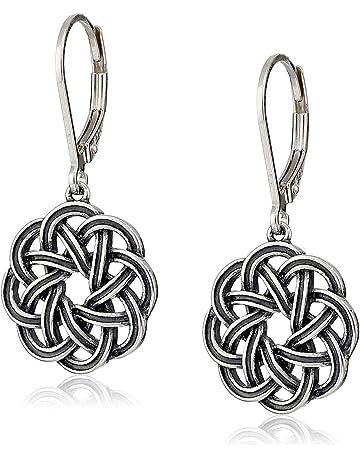8e95da961 Sterling Silver Celtic Knot Lever-Back Drop Earrings