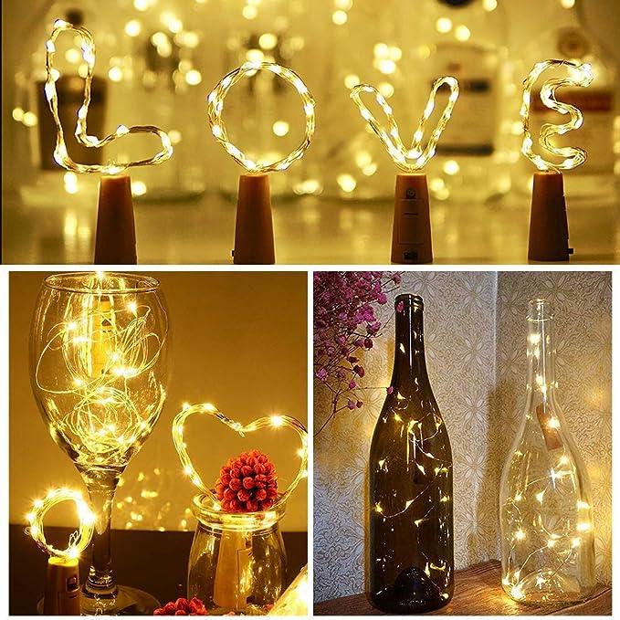 Luces de corcho para botella de vino, 8 paquetes Funciona con batería 2M / 20 LED Luces de cadena de alambre de cobre para botella DIY, Navidad, ...
