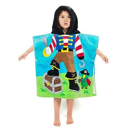 Florica Algodón Niños Niñas Encantador Ponchos Encapuchados baño Toalla de baño (Pirate)